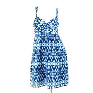 LOFT Blue Ikat Empire Waist Silk Blend Sundress